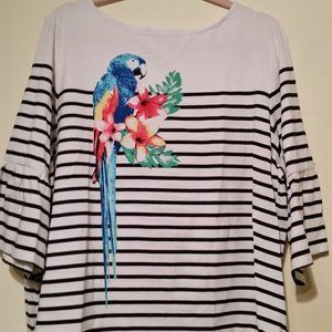 NWOT Ruby Rd striped parrot shirt